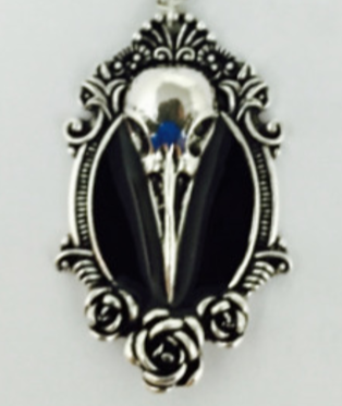 The Raven and the Rose Bird Skull Pendant