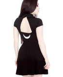 Black Open-Back Moon Accents Minidress