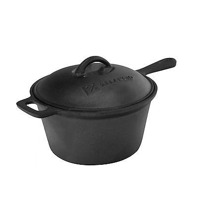 raw cast iron sauce pot used for kitchen and camp cooking