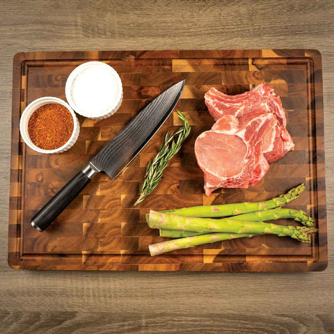 Handcrafted Butcher Block Cutting Board with Drip Catch Groove, 20 x 14 x 2.25 Inches, Thick Chopping Board, Highly Durable and Versatile Chopping Tray