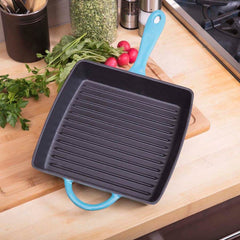 10 Inch Enameled Cast Iron Square Grill Pan