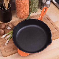 Enameled 10-Inch Cast Iron Skillet, Oven Safe Smooth Surface Frying Pan. Perfect for Steak, Fajitas, Eggs, and So Much More