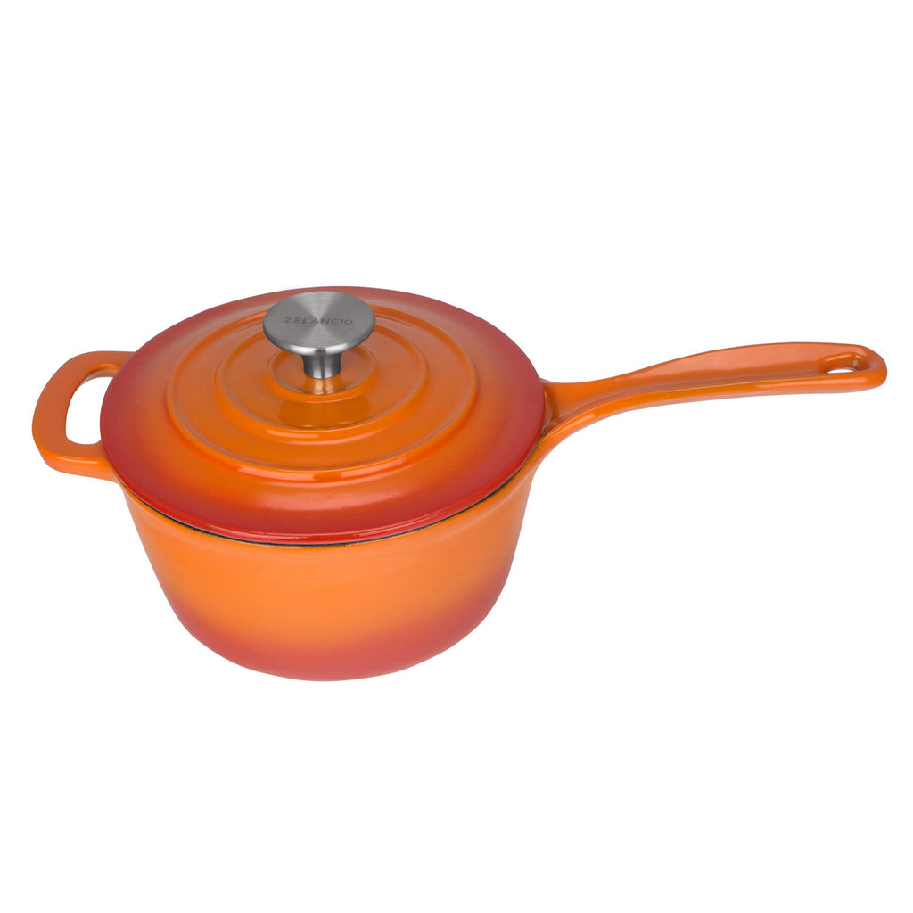 2.5 Quart Enameled Cast Iron Sauce Pan with Lid