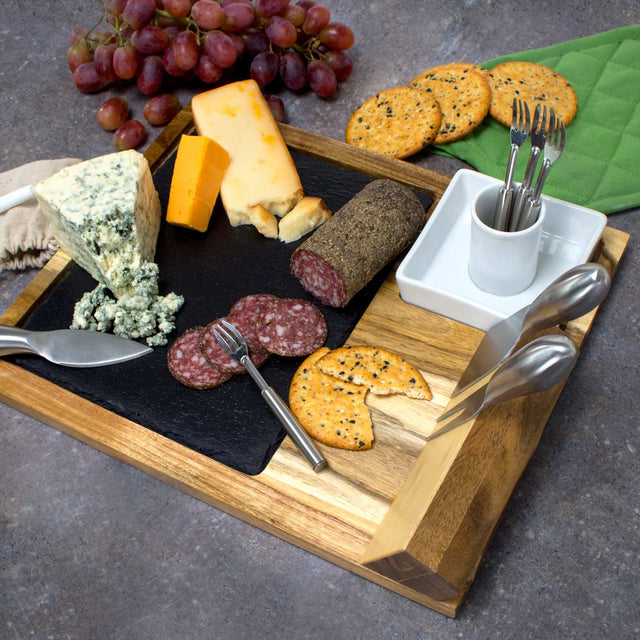 10 Piece Cheeseboard Set with cheese and meat presentation