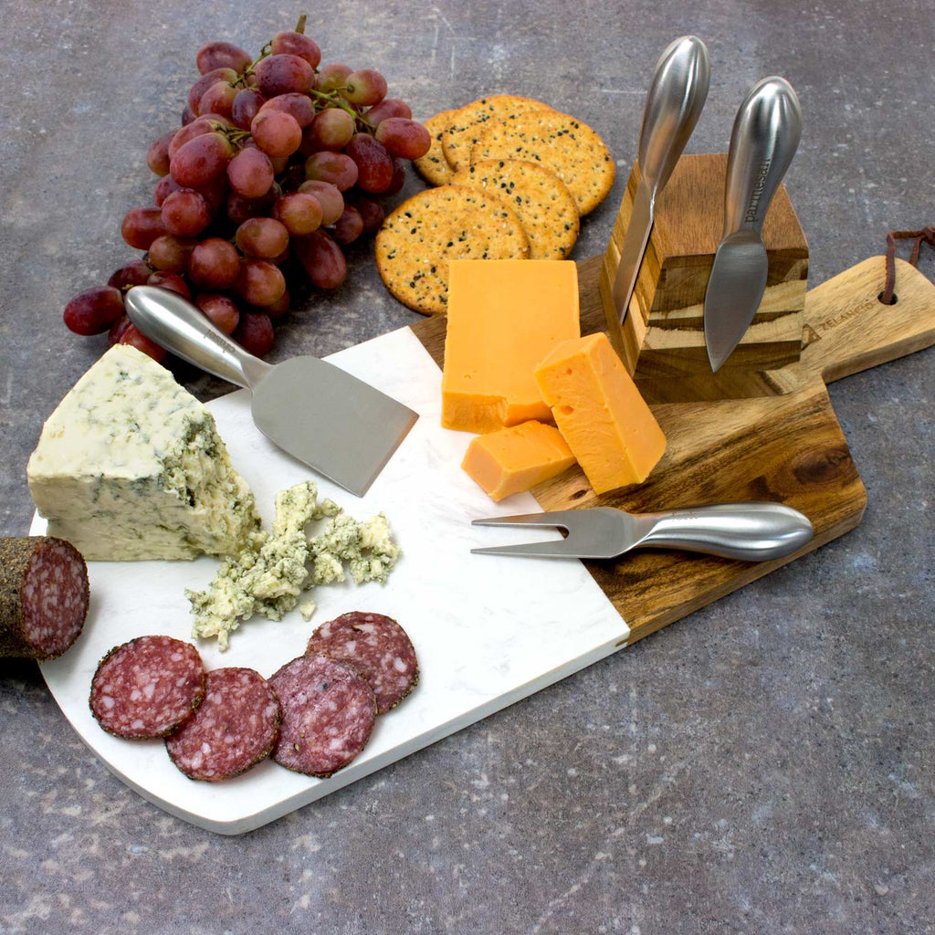 Marble and Acacia Wooden Cheese Board Set