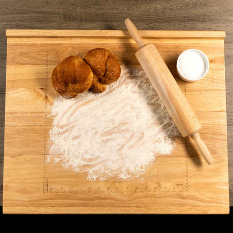 reversible Wooden Pastry Board with rolling pin top view