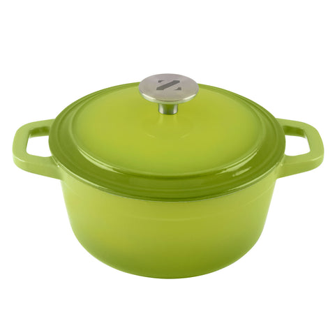 3 Quart Cast Iron, Enamel Covered Iron Dutch Oven Cooking Dish with Skillet Lid (Green)