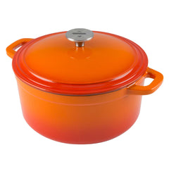 tangerine orange cast iron dutch oven round 6 quart shown in orange