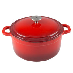 beautiful gradient red cast iron 6 quart dutch oven with loop handles and stainless steel knob from zelancio