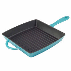 teal enamel grill pan with porcelain interior