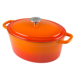 zelancio orange cast iron oval dutch oven