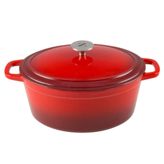 6 Quart Oval Enameled Cast Iron Dutch Oven with Lid