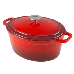 vibrant red gradiant cast iron dutch oven