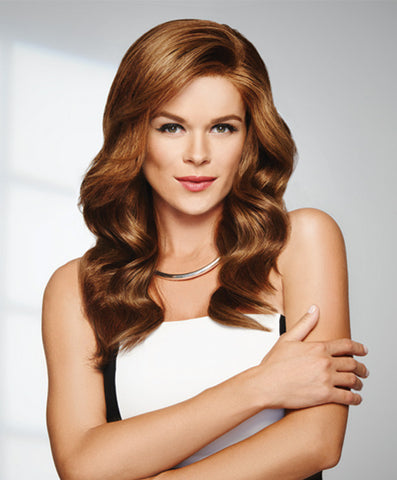 "Raquel Welch Grand Entrance  Be prepared to turn every head in the room. The monofilament top and lace front construction mean you not only get styling versatility but also an incredibly natural appearance. Style this 100% human hair curly, wavy or super sleek and straight. This hair will make sure every entrance is as grand as you are!     Sheer Indulgence™ Lace Front Monofilament Top Memory Cap® Base 100% Human Hair  Cap Size: Average  Front: 8""  Crown: 12¼""  Sides: 13""  Back: 13""  Nape: 15""  Colors Shown"