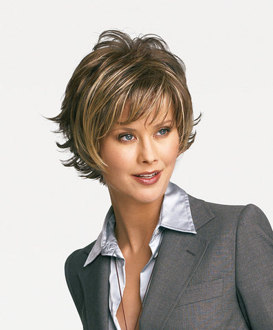 Raquel Welch Boost  Long sweeping layers on the top and sides blend with short textured layers in back for a no-fuss contemporary silhouette.     Memory Cap® Vibralite® Synthetic Hair