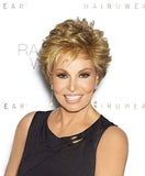 Raquel Welch Center Stage  Under two ounces in weight, this short basic cut offers softly curled all-over layers that blend into an extended nape. Plus it has the luxury of a Sheer Indulgence™lace front monofilament top and 100% hand-tied base for the ultimate in styling options.     Sheer Indulgence™ Lace Front Monofilament Top 100% Hand-Knotted Base Vibralite® Synthetic Hair