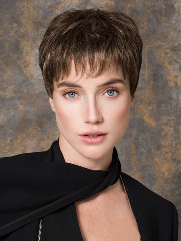 Color Coffee Mix = Medium to Dark Brown base with Honey Blonde highlights on the top only, darker nape | Ginger Mono by Ellen Wille