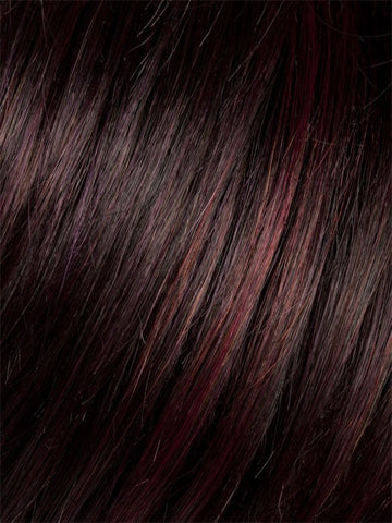 Color AUBERGINE-MIX = Darkest Brown with hints of Plum at base and Bright Cherry Red and Dark Burgundy Highlights