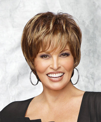 Raquel Welch Enchant  A classic cut that can be styled smooth or with tousled curls. Tru2Life® synthetic hair makes your styling options limitless!     Memory Cap® II Tru2Life Heat Styleable Synthetic Hair