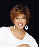 Raquel Welch Free Spirit  This classic short cut with the natural hairline of a Sheer Lines® front, the cool, light comfort of the Sheer Indulgence™ Top and our Non-Slip silicone construction, includes long softly waved layers on top and sides that beautifully blend into flipped, textured ends in the back.     Sheer Indulgence™ Non-Slip Monofilament Top Memory Cap® Base Vibralite® Synthetic Hair