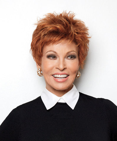 Raquel Welch Power  A short, spiky top gives this closely cropped cut a cutting edge cadence. Bold. Positive. Wonderful.     Memory Cap® Vibralite® Synthetic Hair