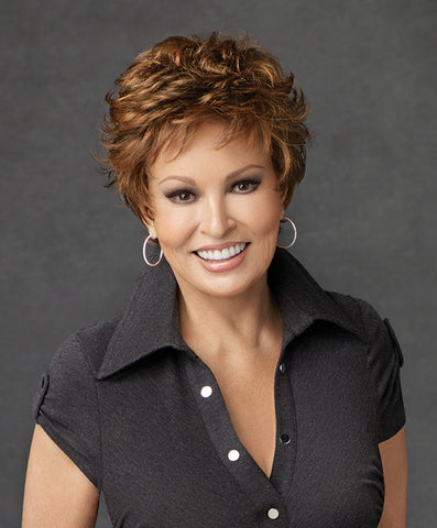 Raquel Welch Autograph  Weighing less than two ounces, this light little boy cut features all-over, razor-like tapered layers. The lace front Sheer Indulgence™ monofilament top and Tru2Life® synthetic hair make your styling options limitless!     Sheer Indulgence™ Lace Front Monofilament Top Memory Cap® II Base Tru2Life Heat Styleable Synthetic Hair
