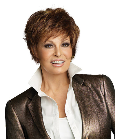 Raquel Welch Sparkle  Ready-to-wear right out of the box, this short, face-framing cut includes a smooth front & top that blend into short textured layers throughout the back and sides. And it's only two and a quarter ounces in weight!     Memory Cap® II Vibralite® Synthetic Hair