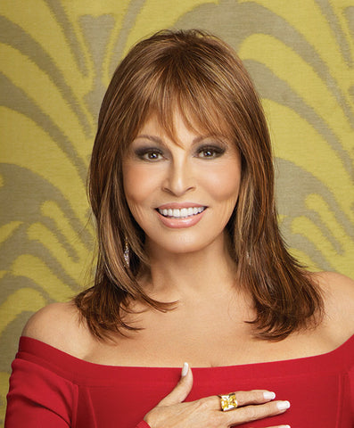 Raquel Welch Star Quality  A straight, long layered cut with optional side swept bangs, this feminine silhouette features a lace front for off the face styling and a Sheer Indulgence™ monofilament part for added parting options.     Sheer Indulgence™ Lace Front Monofilament Part Memory Cap® II Base Vibralite® Synthetic Hair