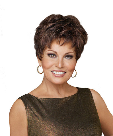 Raquel Welch Winner  Under two ounces in weight, this light little pixie features razor-like tapering of barely waved layers. Ready-to-wear with a firm shake right out of the box, this short boy cut is as easy to style as it is comfortable to wear!     Memory Cap® II Vibralite® Synthetic Hair
