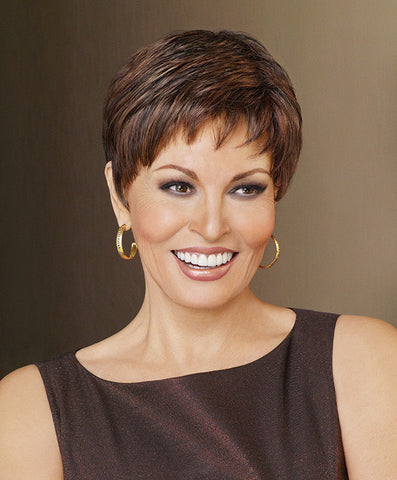 Raquel Welch Winner Elite  Under two ounces in weight, this light little pixie offers the same razor-like tapering of barely waved layers as our popular Winner style – with the added luxury of a Sheer Indulgence™ lace front monofilament top and 100% hand-tied base for the ultimate in styling options.     Sheer Indulgence™ Lace Front Monofilament Top 100% Hand-Knotted Base Vibralite® Synthetic Hair