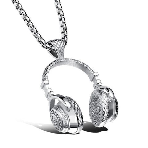 Stainless Steel Music Headphones Pendant For Necklace