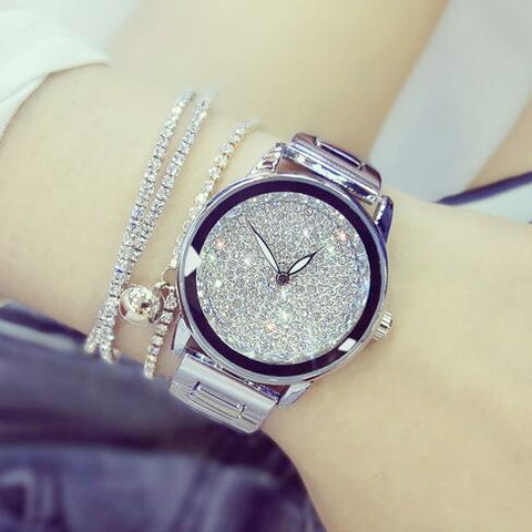Luxury Crystal Stainless Steel Watch For Woman