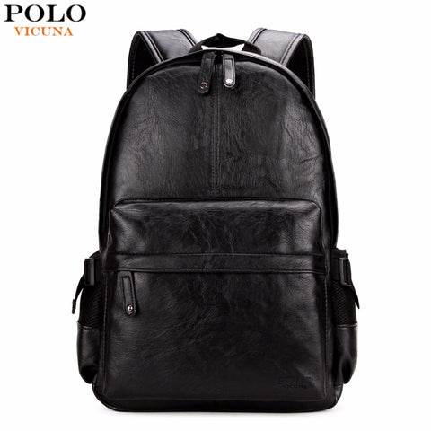 Young Preppy Leath Backpack For Men