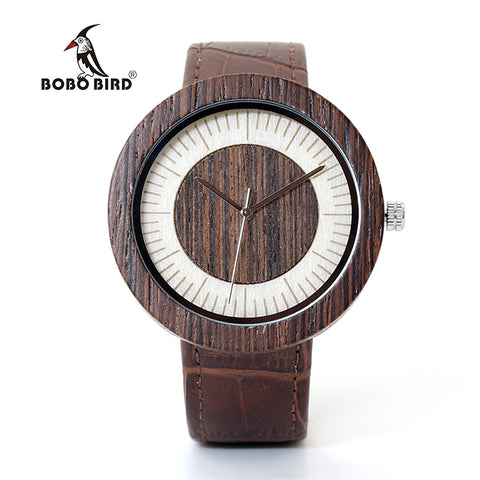 Handmade Wood Wath With Leather Strap