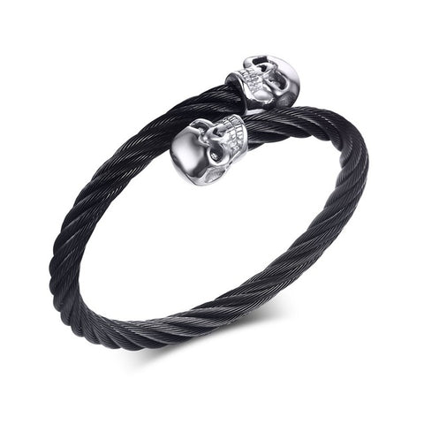 Stainless Steel Wire Cable Bracelet With Skulls