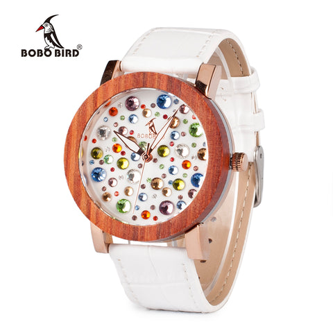 Genuine White Leather Wooden Watche For Women