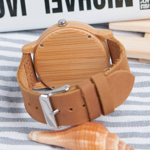 BOBO BIRD Antique Round Bamboo Wooden With Leather Strap Lady Watch