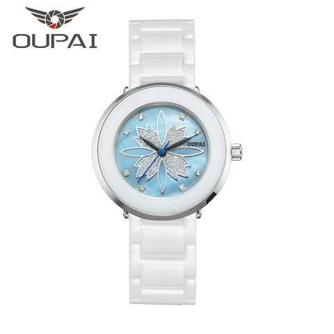 OUPAI Ceramics Lucky Clover Shell Design Watch for Women