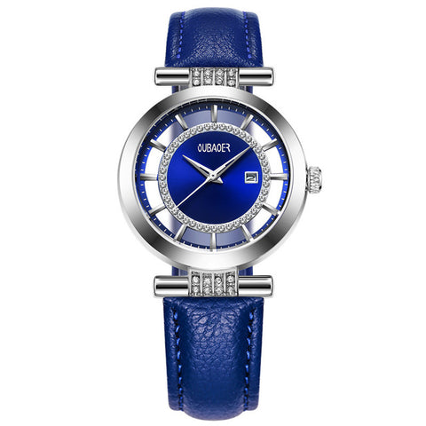 OUBAOER Luxury Genuine Leather Dress Watch for Women