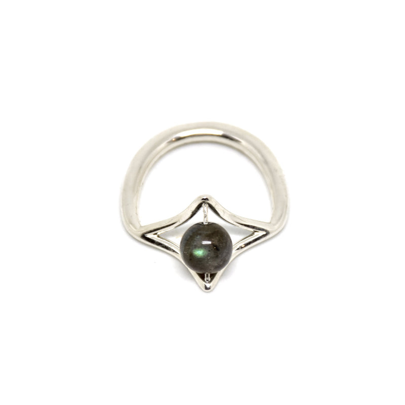 PLAITLY Petal Ring with Labradorite Stone