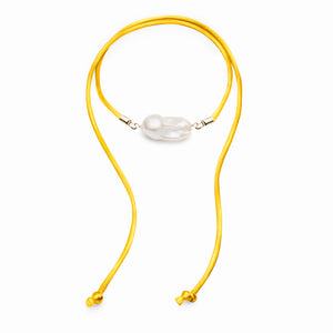 Baroque Freshwater Pearl & Satin Convertible Necklace / Anklet - Gold