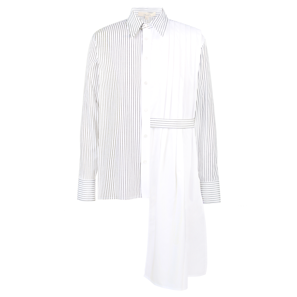 2WN Ame Half Body Pleated Color-Blocked Shirt