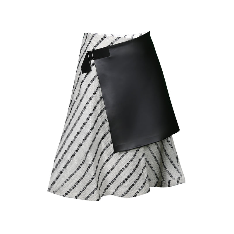 Mirimalist Wrap Striped Skirt
