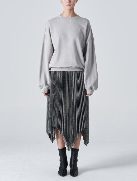 Juun.J Checkered Unbalanced Pleated Grey Skirt