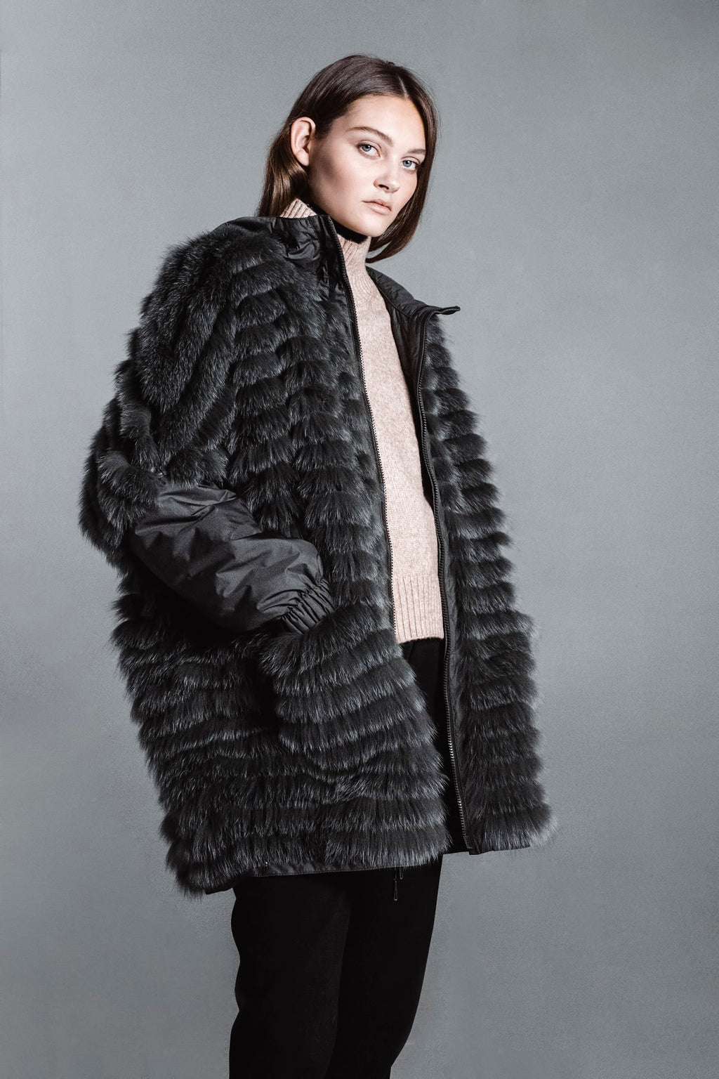 Gemmi Fox Fur Coat-Green