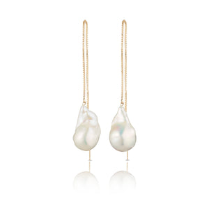 Jean Joaillerie Extra Long 14 Karat Gold Filled Baroque Freshwater Pearl Earrings