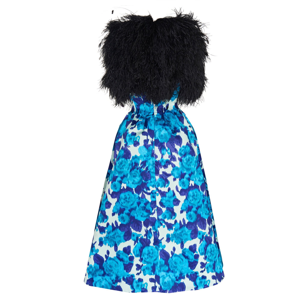 Richard Quinn Blue Feather-embellished Printed Moire Gown