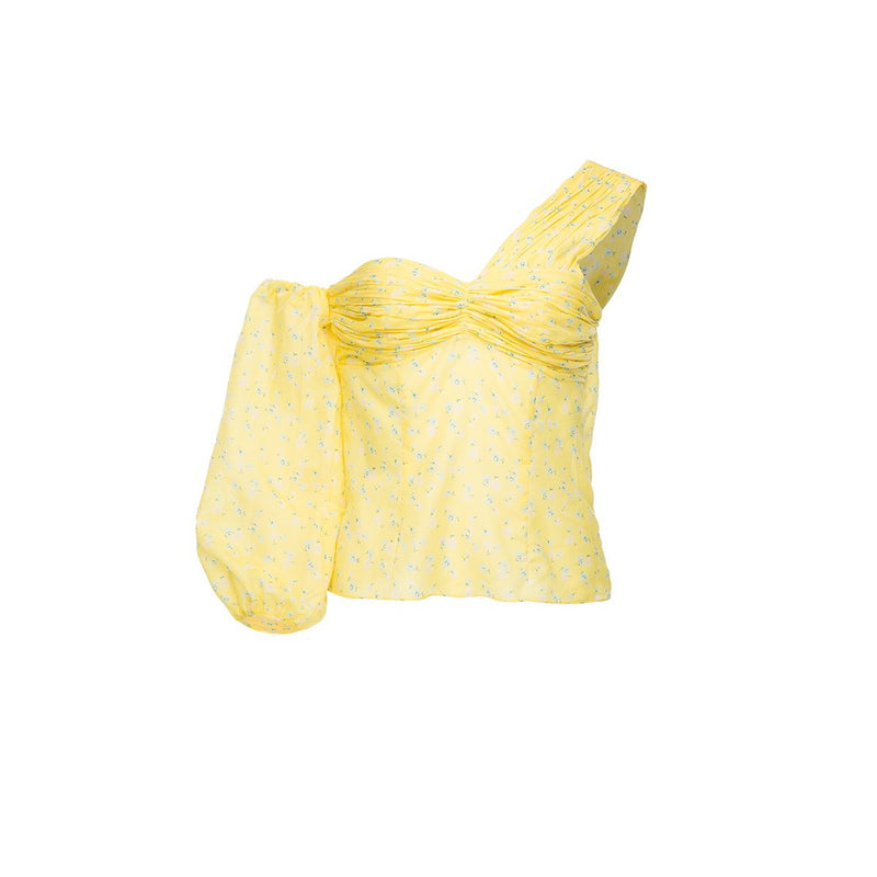 Salakaia Yellow Cotton One Sleeve Top