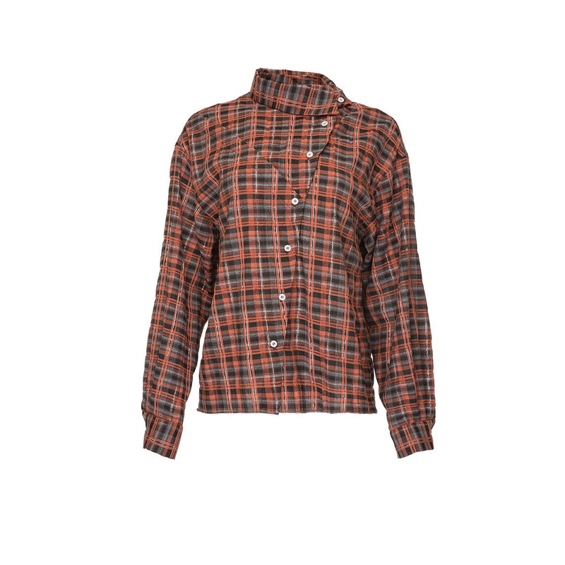Salakaia Checked Asymmetric Collar Shirt