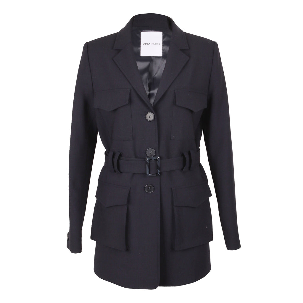 Monica & Mobline 4 Pocket Belted Jacket Black